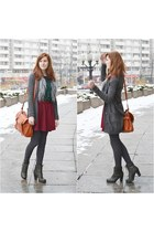 green Vila blouse - dark green Mango sweater - burgundy Stradivarius skirt