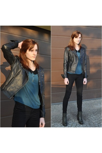 bottle green MadamRage blouse - dark green Merg boots - leather OASAP jacket