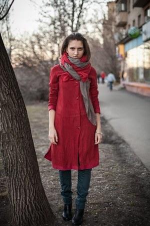 silkvisсose Sarah Pacini scarf - leather Dalmatin coat