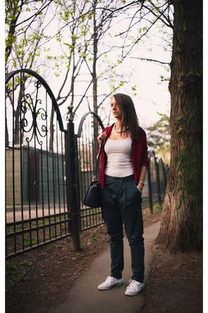 navy leather Michael Kors bag - red suede Dalmatinboutique jacket