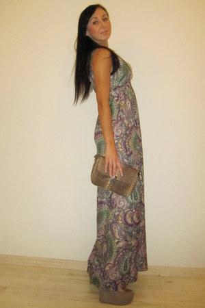 tan dress - sky blue kohls dress - light purple dress - tan Steve Madden pumps