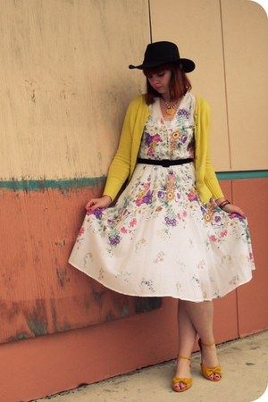 white vintage dress - yellow Old Navy cardigan - gold Mod Cloth shoes - dark gre