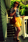 Gold-old-navy-skirt-blue-vintage-shirt-brown-target-shoes-brown-lulus-bag