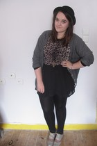 black H&M hat - brown Topshop shirt - black H&M skirt