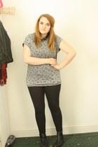 black Primark boots - black Topshop leggings - black tartan Primark shirt