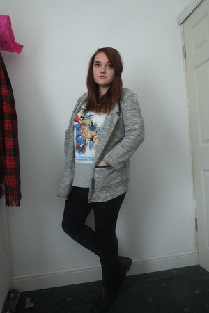 black Primark boots - black Topshop leggings - silver new look blazer