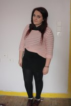 crimson H&M flats - cream Topshop socks - pink H&M jumper - teal Topshop top