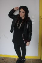 black Primark dress - black H&M hat - black Primark jacket - white Topshop socks