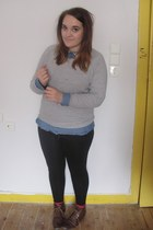 dark brown H&M boots - black Primark leggings - blue H&M shirt
