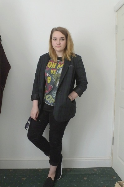 forest green tartan Primark blazer - black next jeans