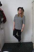 army green Topshop hat - navy Primark jeans - black new look shirt