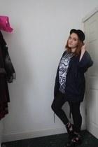 black bowler hat H&M hat - navy kimono Topshop jacket