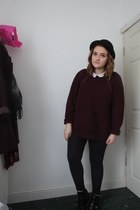 crimson cut out Ebay boots - black bowler H&M hat