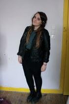 black Dr Martens boots - black Primark jacket - black H&M skirt