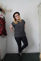 navy Primark jeans - navy asos shirt - black Ebay flats - navy Topshop stockings