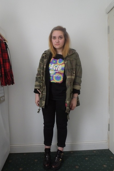 forest green camo Primark jacket - crimson cut out Ebay boots