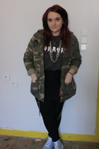 cream Topshop socks - silver Ebay shoes - army green Primark jacket