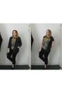 Black-next-jeans-forest-green-tartan-primark-blazer