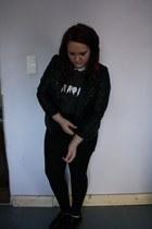 black Primark jacket - charcoal gray DIY shirt - white Vero Moda shirt
