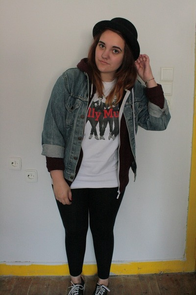 black H&M hat - navy denim vintage jacket - black Topshop leggings
