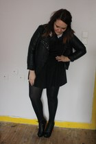 black Primark dress - black Primark jacket - navy Topshop top - black gift heels