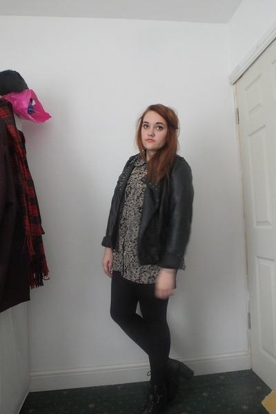 black Primark boots - black leather Primark jacket - tan floral new look shirt