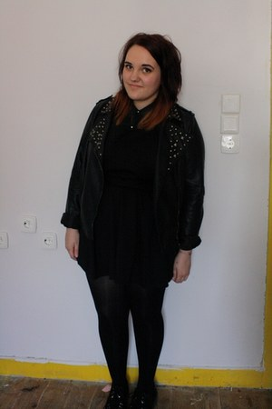 black Primark dress - black Primark jacket - teal Topshop top - black gift flats