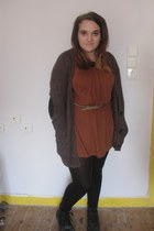 brown Topshop dress - black doc martens boots - light blue Primark belt