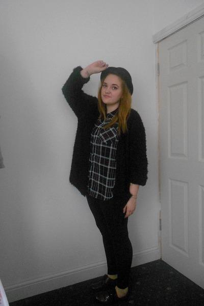 black H&M hat - black Topshop leggings - brick red tartan Primark shirt