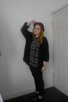black H&M hat - black Topshop leggings - brick red tartan Primark shirt