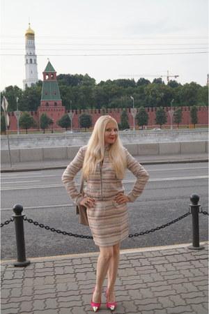 gold Soft Grey jacket - hot pink asos shoes - brown Soft Grey bag