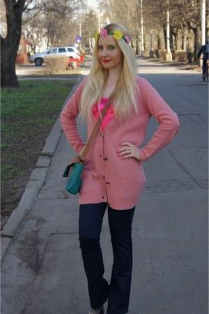 pink La Redoute cardigan - silver 3Suisses boots - blue Vila jeans