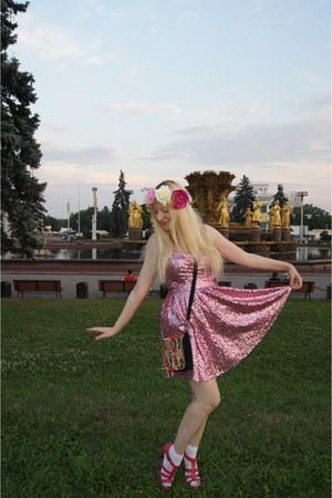 hot pink La Redoute shoes - hot pink asos dress