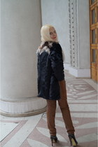 black Lamania boots - black Soft Grey coat - tawny asos pants