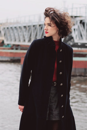navy coat - ruby red sweater - black tights - heather gray shorts