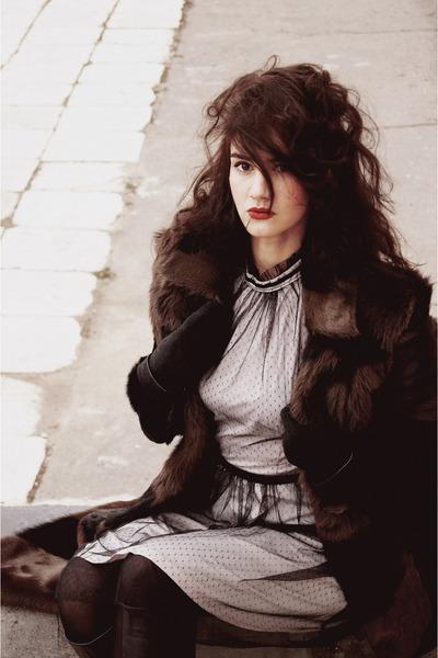 dark brown pony fur coat - black boots - light pink oodji dress - black tights