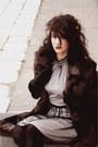 Black-boots-light-pink-oodji-dress-dark-brown-pony-fur-coat-black-tights