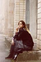 black boots - black jacket - black skirt - black watch