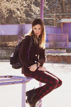 black boots - dark brown velvet H&M jacket - red plaid pants