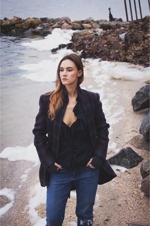 black boots - deep purple plaid wool coat - black blouse