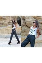 black BSB boots - white H&M top - heather gray Zara men pants