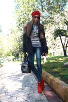 red shoebox boots - dark gray XDYE coat - black calvin klein bag