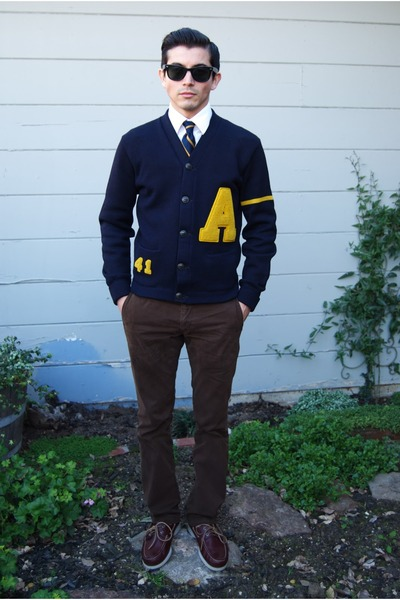 Letterman sweater - brown leather Bass&Co shoes - ray-ban sunglasses - Gap pants