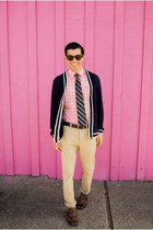 navy 21MEN cardigan - brown oxfords Steve Madden shoes