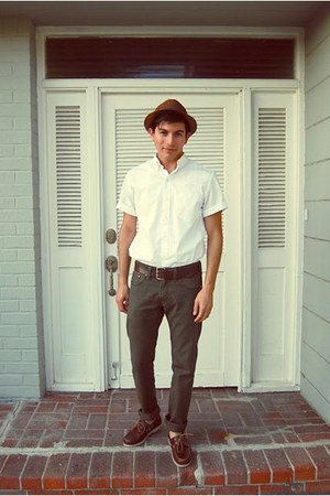 light brown straw Gap hat - crimson deck Bass & co shoes - white J Crew shirt