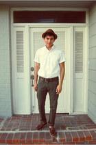 light brown straw Gap hat - crimson deck Bass & co shoes - white J Crew shirt