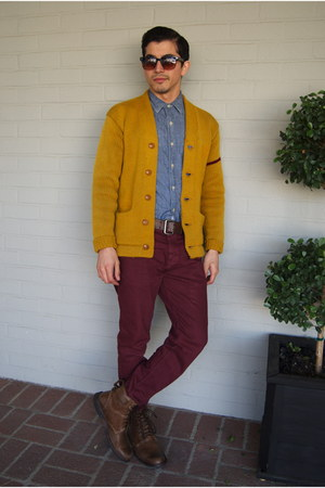 brown leather Timberland boots - denim J Crew shirt - maroon cotton on pants