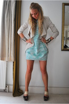 blue People Tree dress - beige Zara jacket - gray Rocha John Rocha shoes