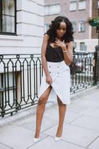 ivory Zara skirt - black black cami asos vest
