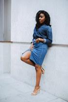 blue asoscom skirt - blue asoscom top - gold River Island sandals
